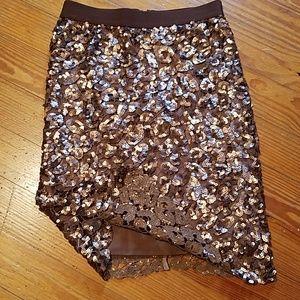BCBGMAXAZRIA Bronze Sequened Midi Skirt